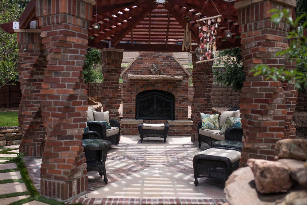 Brick Fireplace And Gazebo